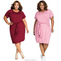 SM93056 plus size lady solid color big casual dress for fat women