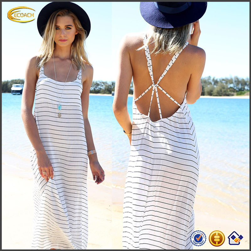 Ecoach Latest OEM Sexy Beach Dress For 2016 Women White Cross Back Striped Maxi Style