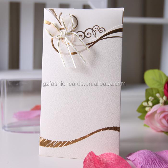 New Idea 2016 Elegant Unique Wedding Invitation Card White Gold