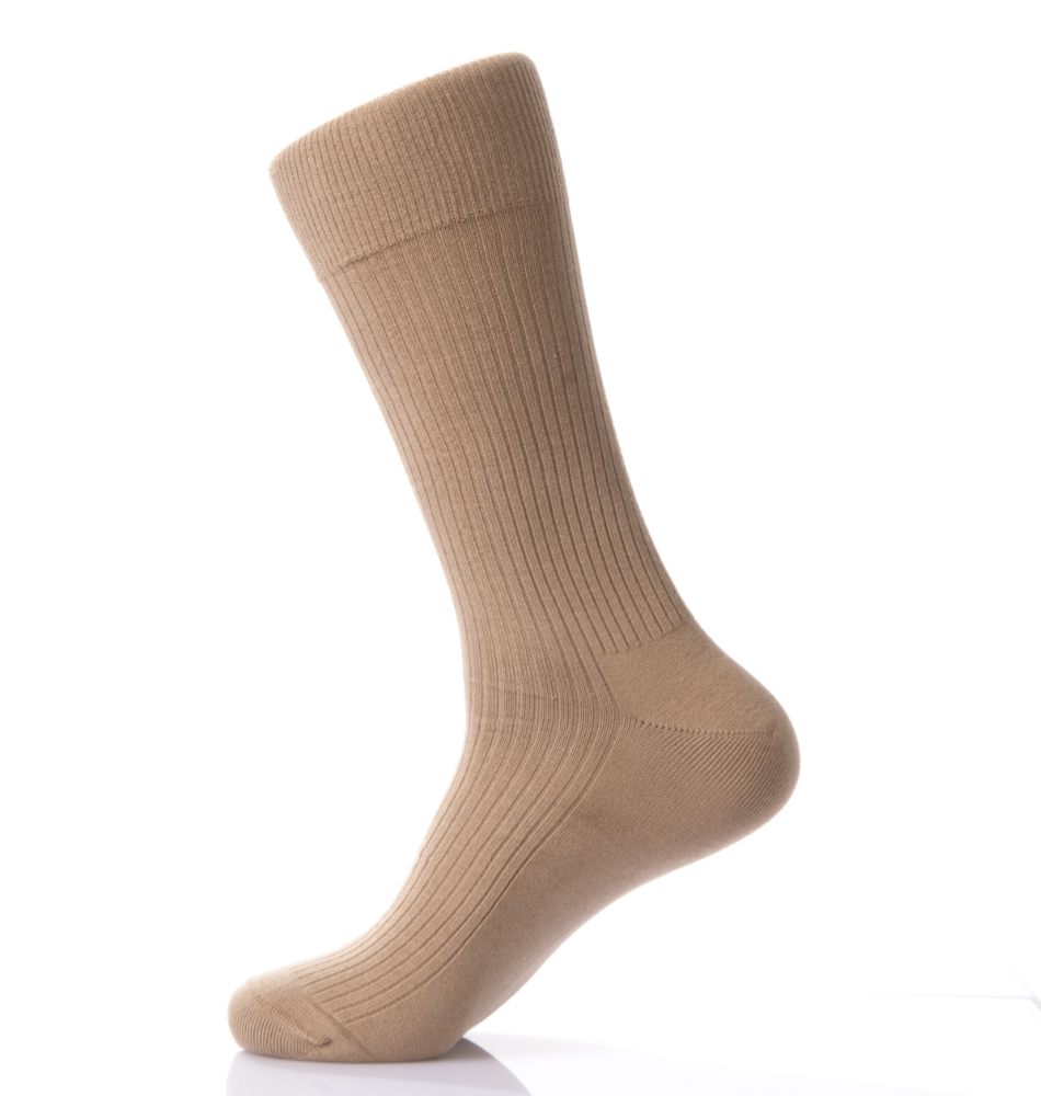 Knitted Classic Style Solid Color Men Crew Supima Cotton Business Dress Sock