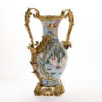Antique decorative ceramic pottery china porcelain vase,chinese porcelain vase with bronze ear