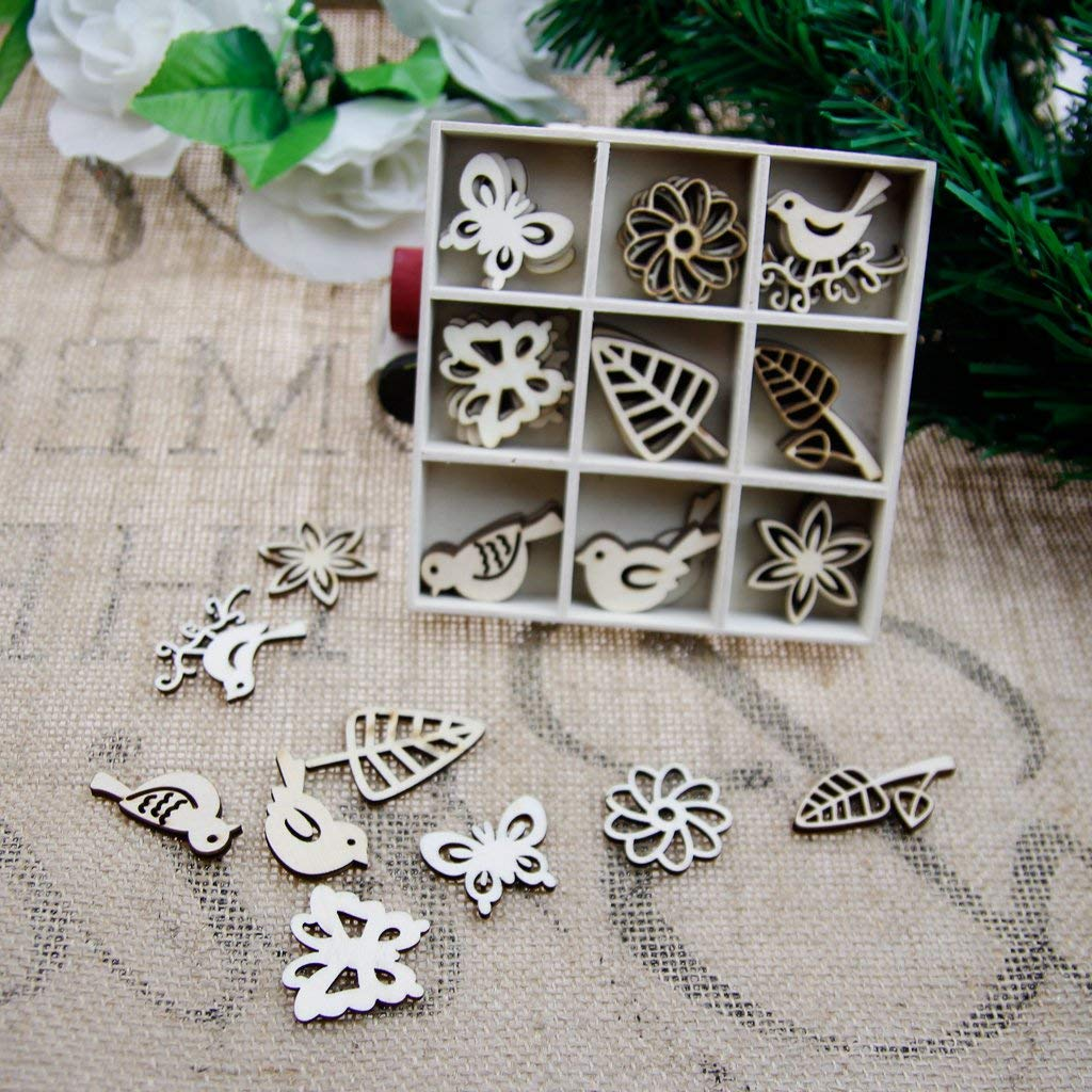 DIY Card Making Wooden Leaf Flower Butterfly Birds Embellishments 9 Shapes 45 Pieces Wooden Easter Ornaments Pack in One Wooden Box for Crafts Decorations (Leaf)
