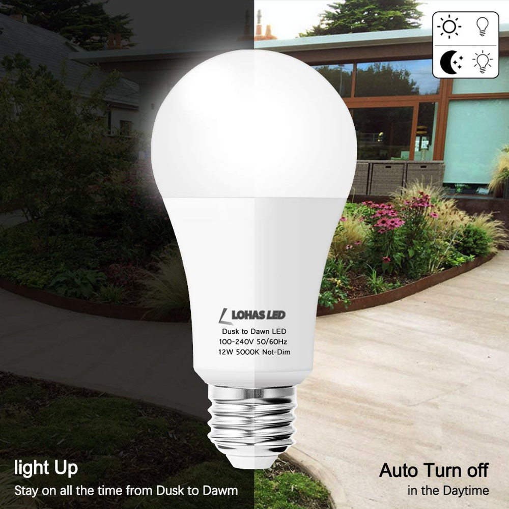 A19 Dusk To Dawn Sensor Light Bulb 5000k Daylight White 12w Light Sensor Bulb Auto On  Off