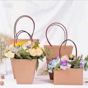 Brown Paper fresh Flower Carrier Waterproof Bags