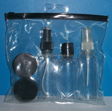 Airline travel kit black bottles kit travel bottle set cosmetic set PET empty bottles for travel