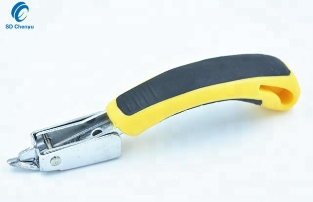 Heavy Duty Upholstery Construction Staple Remover with Rubber Handle Tacker for Woodworking