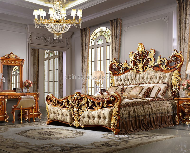 Bisini Luxury Palace King Size Bed Royal Golden King Size