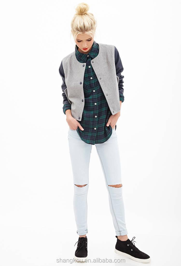 Shirt design china - Long Sleeve Plaid Shirt For Women Women Casual Check Shirt Design Women Shirt Cutting