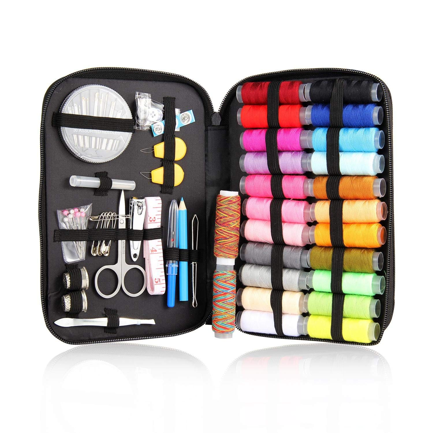25/90/94Pcs Multifunction Sewing Box Sewing Thread Stitches Needles Tool Set Cloth Buttons Craft Scissor Travel Sewing Kits Case 94pcs
