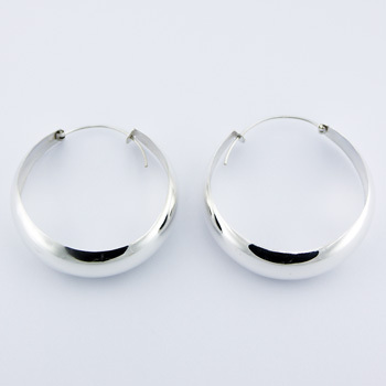 Chic Large Sterling Silver Hoop Earrings Tapered Band