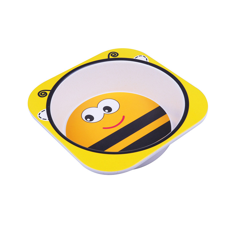 Oempromo customized designs biodegradable bamboo fiber kids tableware