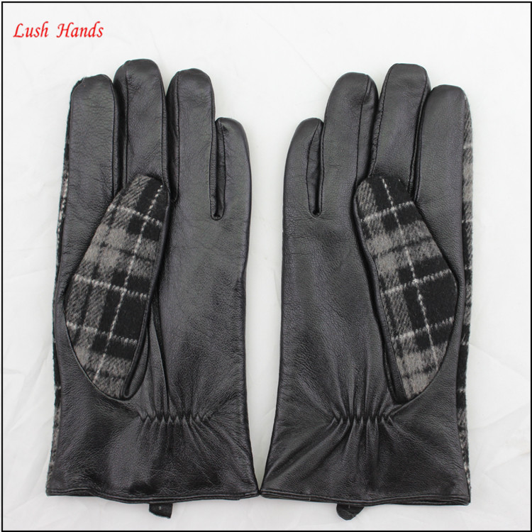 2017 men's fashion back of black fabric hand sheepskin leather gloves