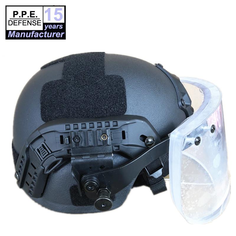 NIJ IIIA aramid MICH ballistic helmet with bulletproof visor