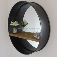 Wholesale low price rustic black round circular metal wall mirror with wooden shelf