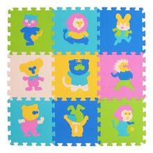 Mei qi cool 9 шт. детский коврик-пазл с животным рисунком, детский коврик, детский игровой коврик из ЭВА, мягкие коврики-головоломки для занятий в ...(Китай)