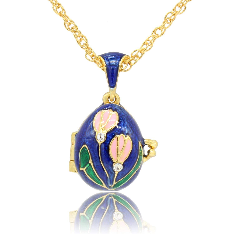 MYD Jewelry Hand Enameled Tulip Flower Faberge Egg Locket Pendant Necklace