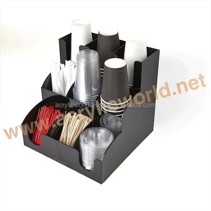 Coffee counter condiment caddy cup dispenser lid display tea rack countertop