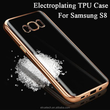 S8 soft tpu phone case; electroplating tpu bumper transparent back cover for samsung galaxy s8 tpu mobile case