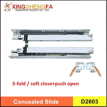 push-open and soft closing concealed drawer slide full extension hidden drawer slide