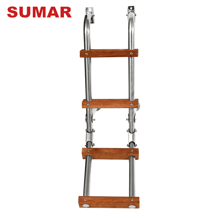 Wholesale domestic moveable lightweight steel folding step ladder with wood steps