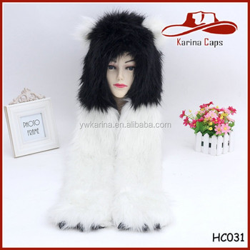 4c5b5572 High Quality Animal Hat With Scarf Paws Claws Faux Fur Long Full Hoods