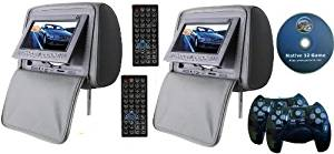 "Gray Color Zipper Pair of Headrest 7"" LCD Car Monitors with Region Free DVD player USB SD Inc. 32 Bit Games and 2 wireless Remote Controls"