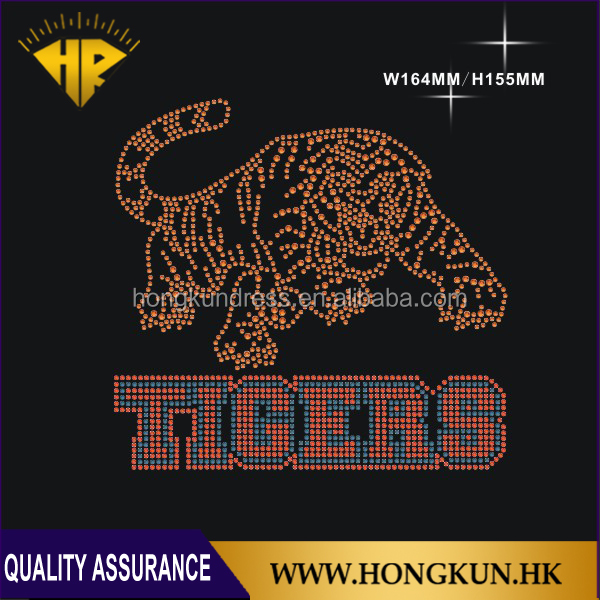 Tigers design hot fix rhinestone transfer motif iron on Applied Clothing