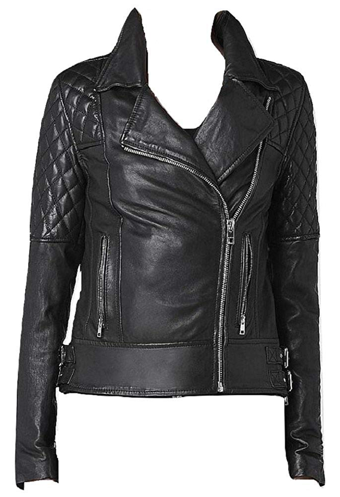 Bestzo Women's Fashion Real Leather Motorbike Jacket Black