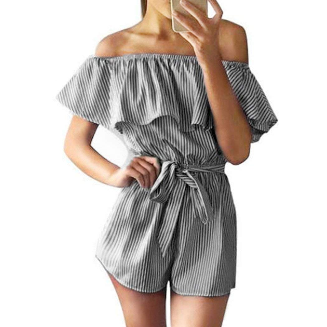 faff2be573b Get Quotations · Women s Summer Striped off Shoulder Ruffle Short Sleeve  Tie Waist Romper Jumpsuit