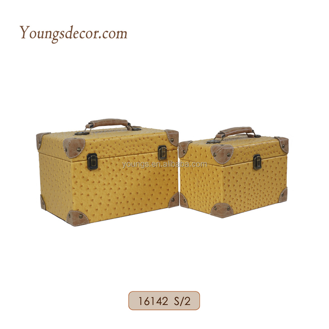 Small Faux Leather Covered Wooden Storage Packing Gift Boxes Bins