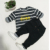 2019  Promo Casual suit boys Spring  Cartoon cotton child clothe kids Girl's stripe T-shirt