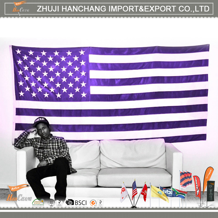 Printed American Flag Wholesale Purple And White Stripes