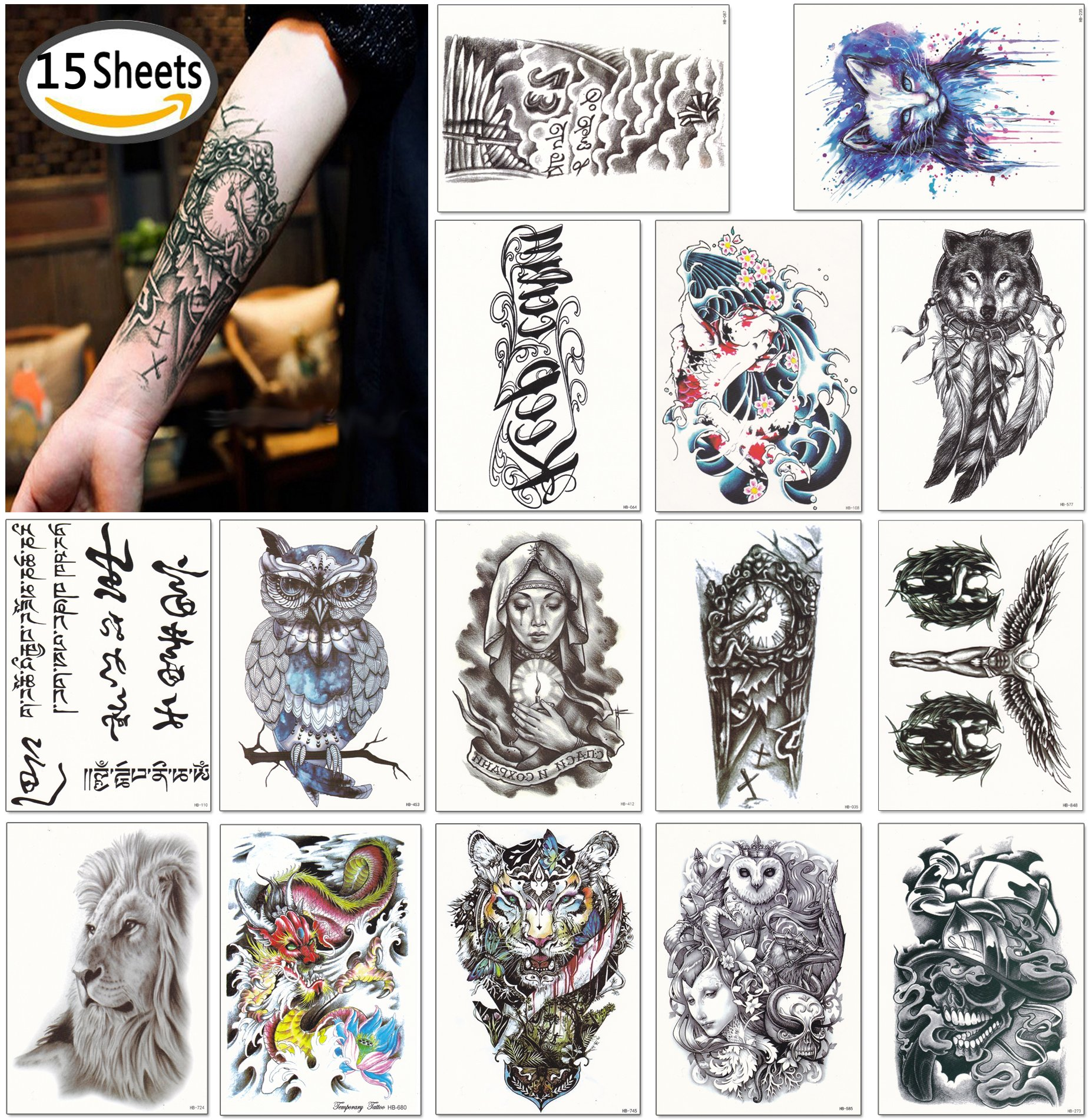067d1a7d1 Get Quotations · DaLin Large Temporary Tattoos Half Arm Tattoo Sleeves 15  Sheets, Robot Arm, Dead Skull