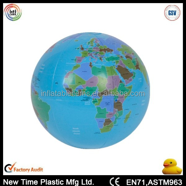 PVC inflatable earth globe beach ball in bulk