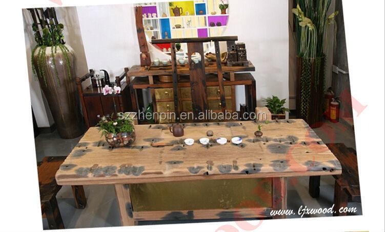 앤티크 스타일의 고체 매립지 오래된 선박 목재 식탁 홈 장식 ...