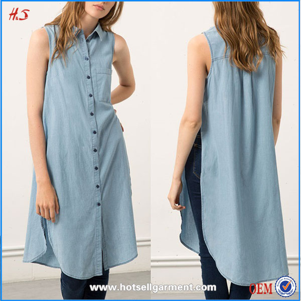 Wholesale Bulk Clothing High Quality Fashion 100% Cotton Sleeveless Long Denim Shirt For Women