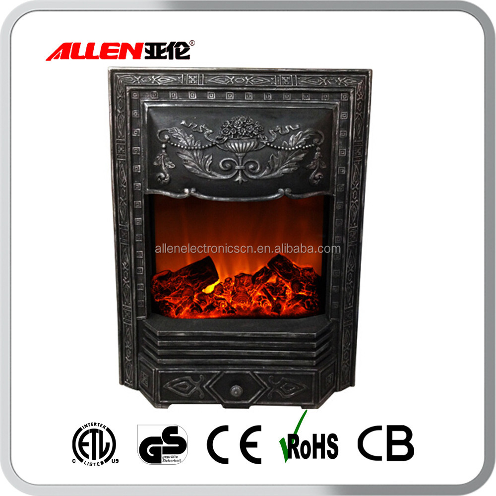 antique cast iron electric fireplace insert heater with fake flame
