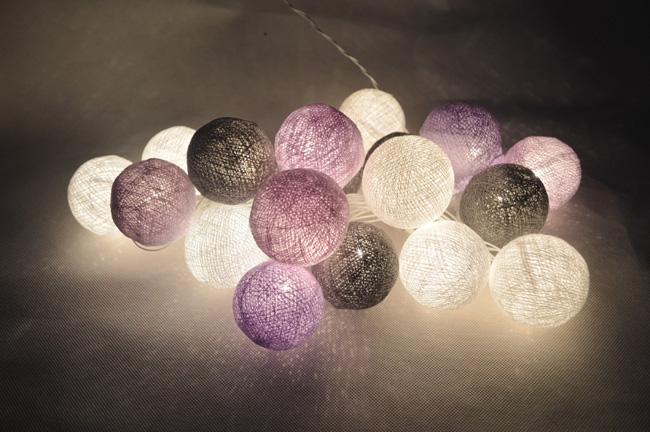 acheter 20 pcs set mixte gris violet blanc boule de coton jeu de lumi res. Black Bedroom Furniture Sets. Home Design Ideas