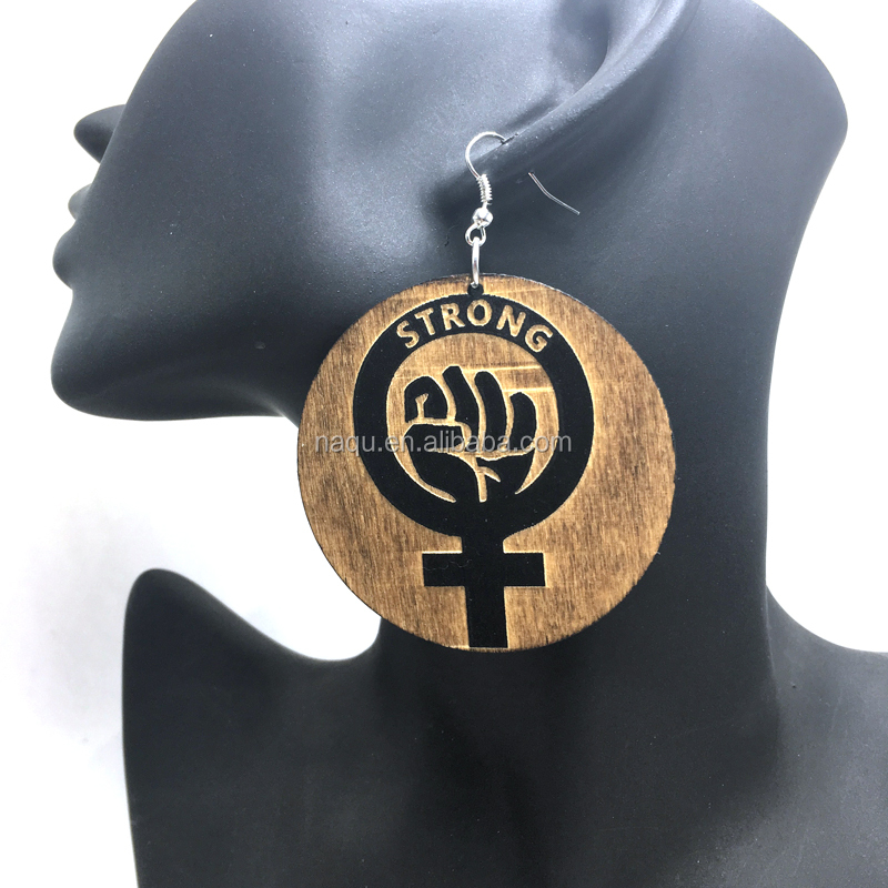 Yiwu Make Strong Power Fist Wooden Earrings