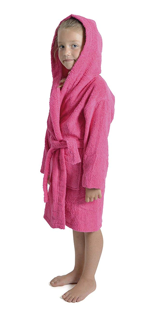 Get Quotations · Aumsaa Girls children Dressing Gown Hooded Towelling  Bathrobe 100% Cotton Terry Towel Bath Robe Soft cea20bedf
