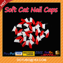 Double Colour Red & White Soft Silicon Cat Nail Caps /Pet Nail Cover With Free Glue And Applictor
