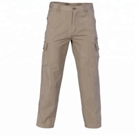 Wholesale oem khaki cotton multi pocket mens cargo work pants with side pockets