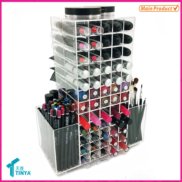 Nouveaux produits Ornements de Noël 120 Lipsticks tournants Tour Lip Brillant Lip Gloss Display Stand Acrylique Lipstick Display