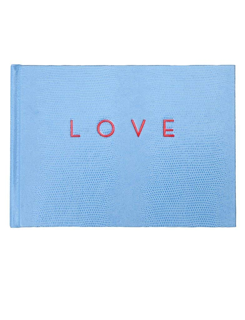 """LOVE"" - Visitor/Wedding Guest Book by Sloane Stationery, Light Blue with Red Lettering and Gilded Edges"