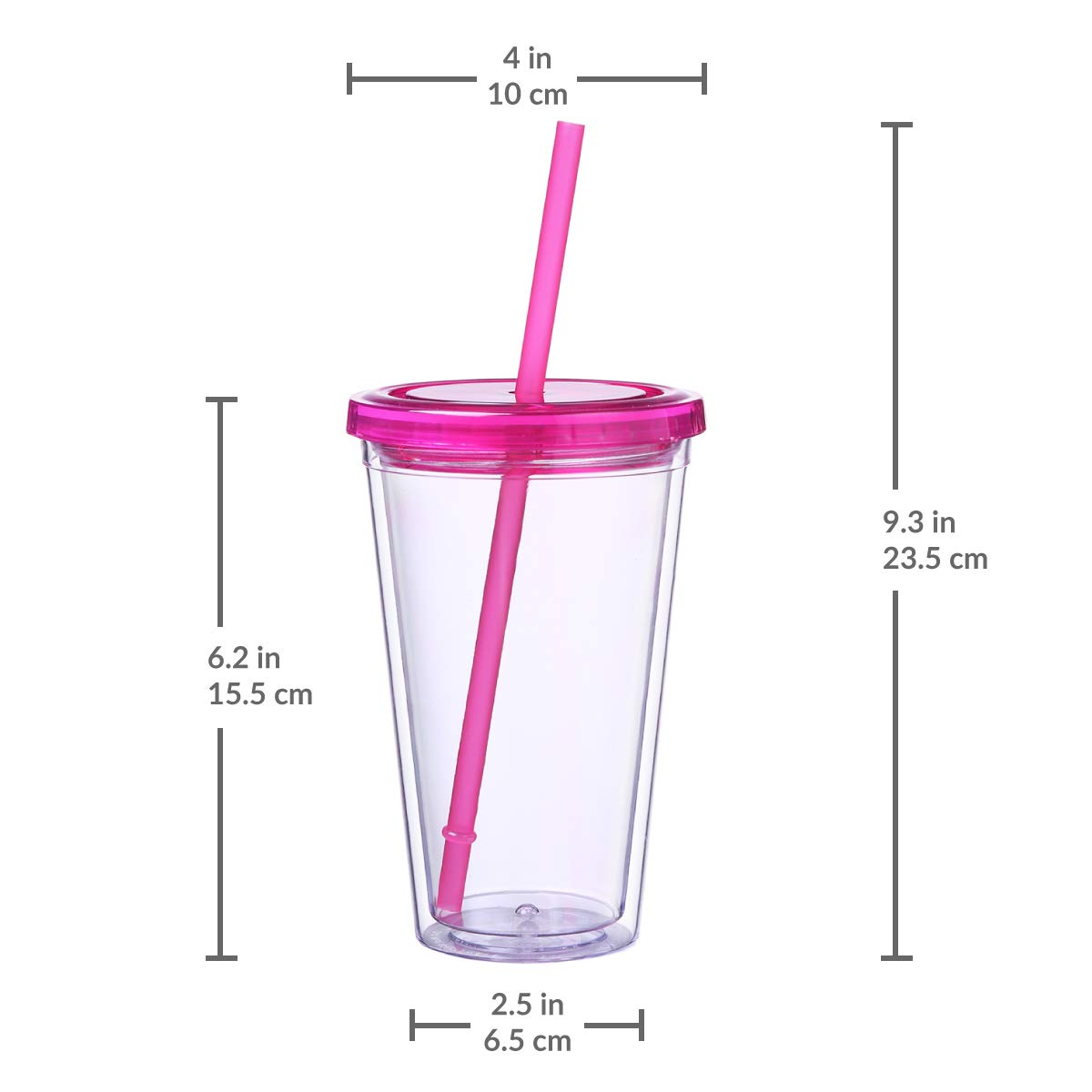 Colorful Classic Double Wall Reusable Tumbler Cup with Lid