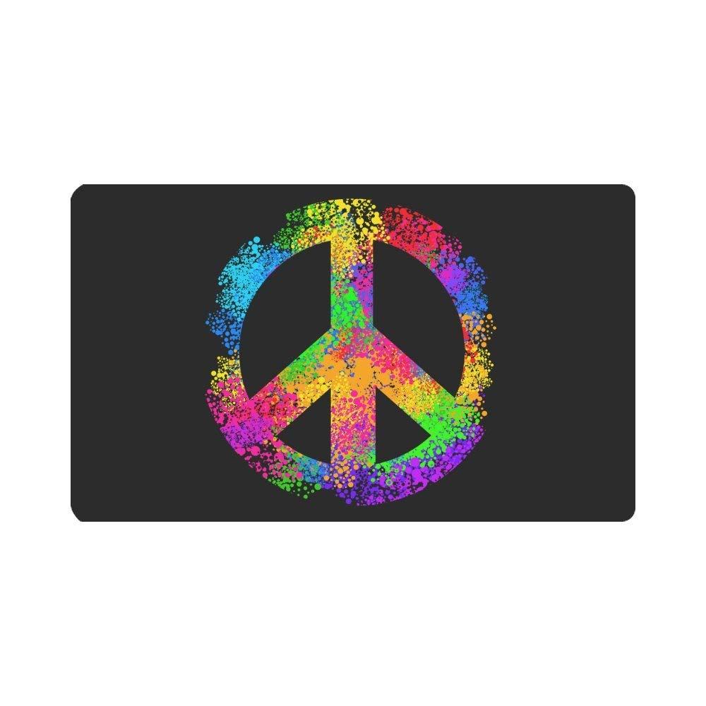"""InterestPrint Cool Hippie Peace Sign Symbols Doormat Indoor Outdoor Entrance Rug Floor Mats Shoe Scraper Door Mat Non-Slip Home Decor, Rubber Backing Large 30""""(L) x 18""""(W)"""