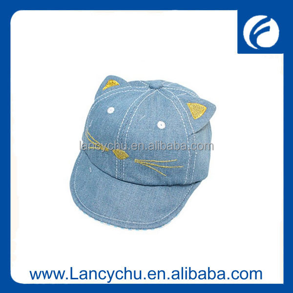 Wholesale Summer Soft brim Cotton embroidered Cat ear Sun shade denim cap for kids