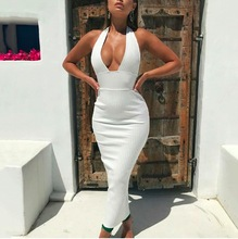 Summer Women Bandage Dress Vestidos Verano 2019 New Tank Sexy Deep V-Neck Sleeveless Bodycon Club Celebrity Party Dresses