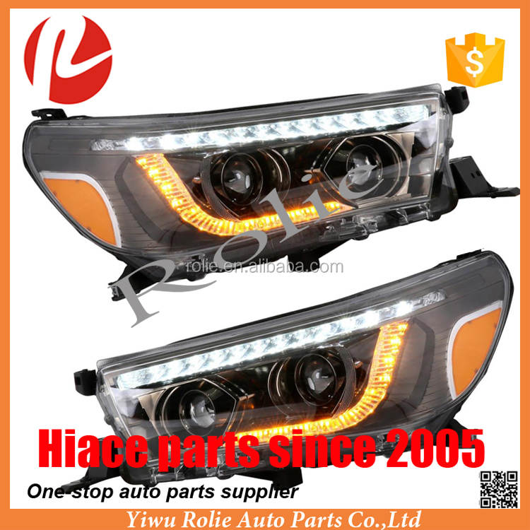 Refit LED Angel Eye Toyota hilux revo headlight 2015 2016 accessories auto parts