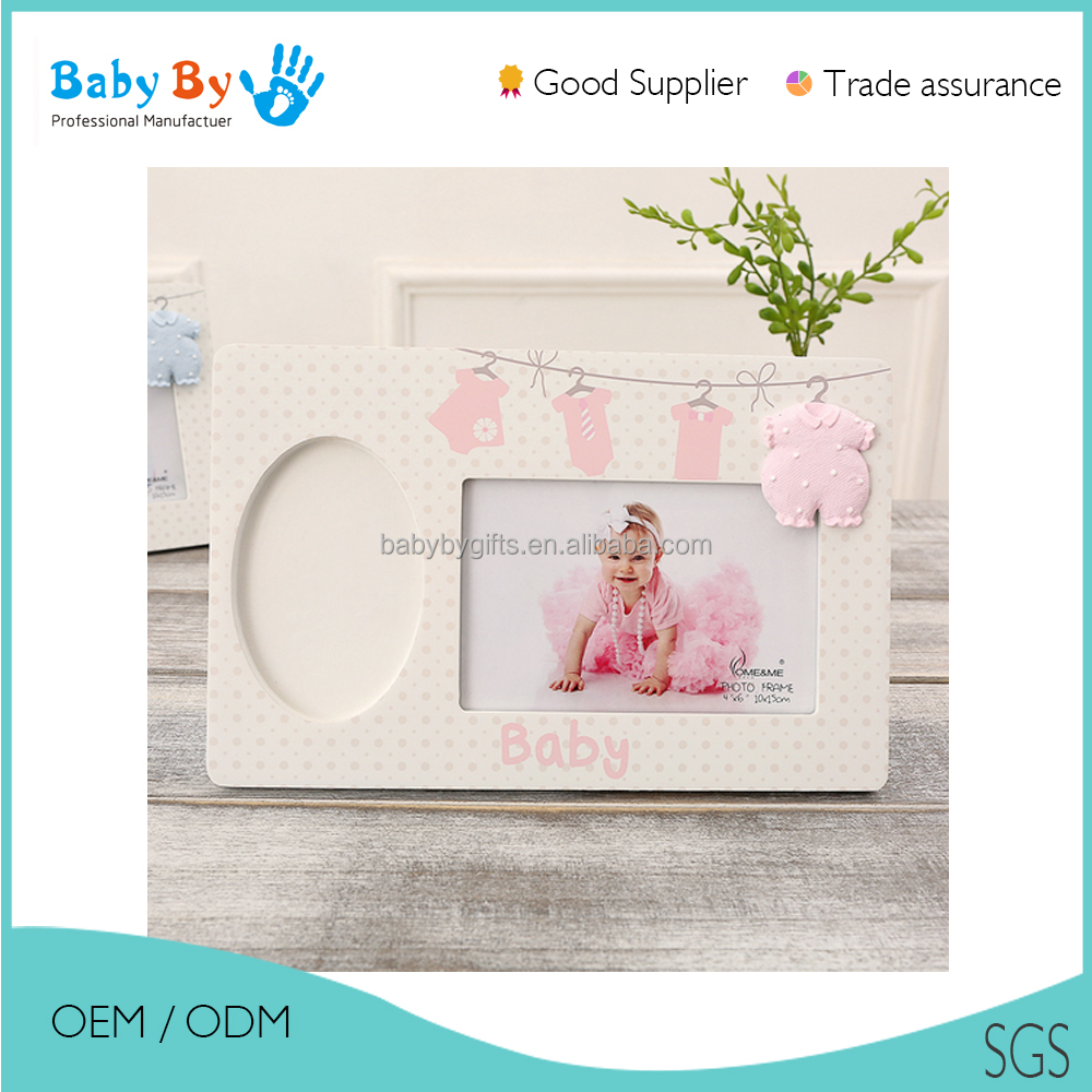 2016 New cute baby hand print super light clay frame with handprint and footprint askeepsake and gifts